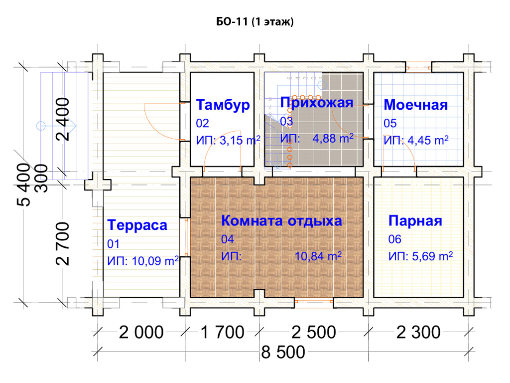 Проект бани 5.5х8.5м БО-11 (план 1 этажа)