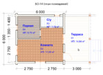 Проект бани 6х6м БО-14 (план помещений)