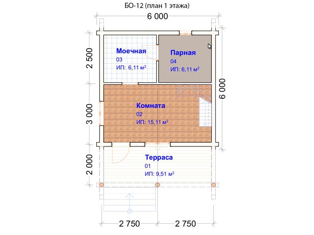 Проект бани 6х8м БО-12 (план 1 этажа)
