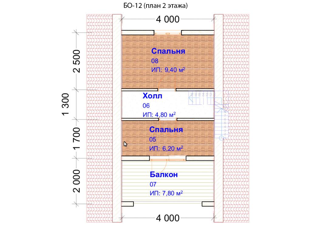 Проект бани 6х8м БО-12 (план 2 этажа)