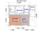 Проект дома 6х6м ДО-03 (план 1 этажа)