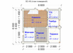Проект бани 6х6м БО-16 - план 1 этажа