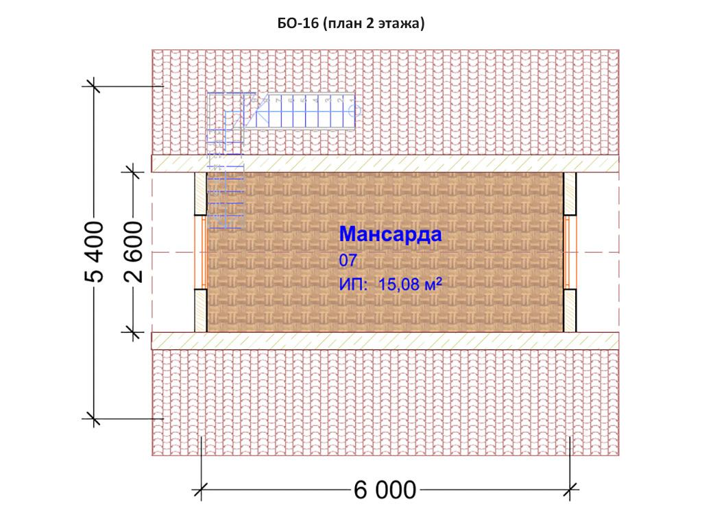 Проект бани 6х6м БО-16 - план 2 этажа