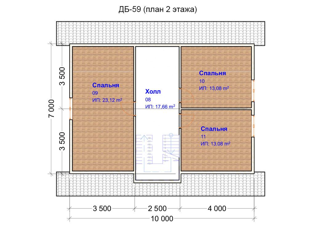 Проект дома 8х10м ДБ-59 - план 2 этажа