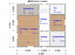 Проект дома 8х9м ДБ-60 (план 1 этажа)
