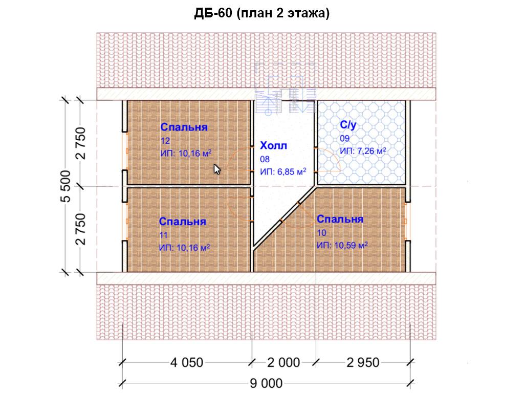 Проект дома 8х9м ДБ-60 (план 2 этажа)