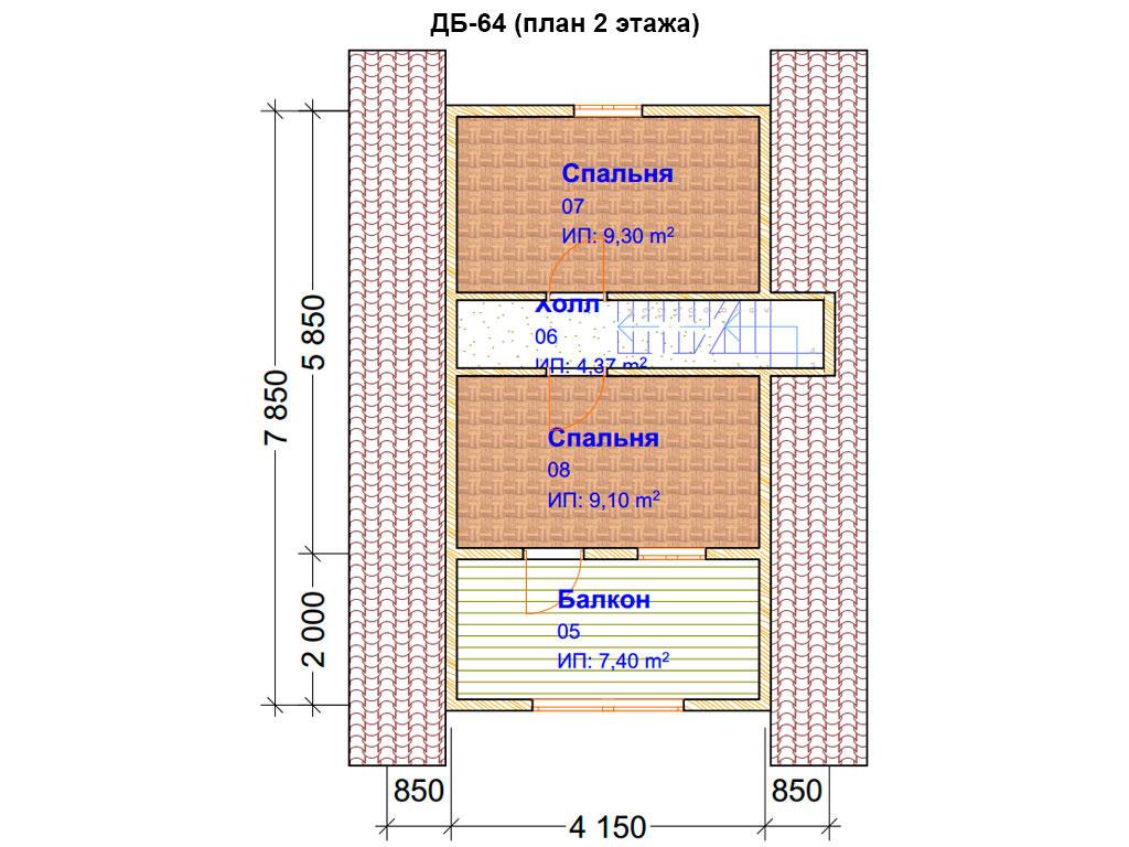 Проект дома 6х8м ДБ-64 (план 2 этажа)