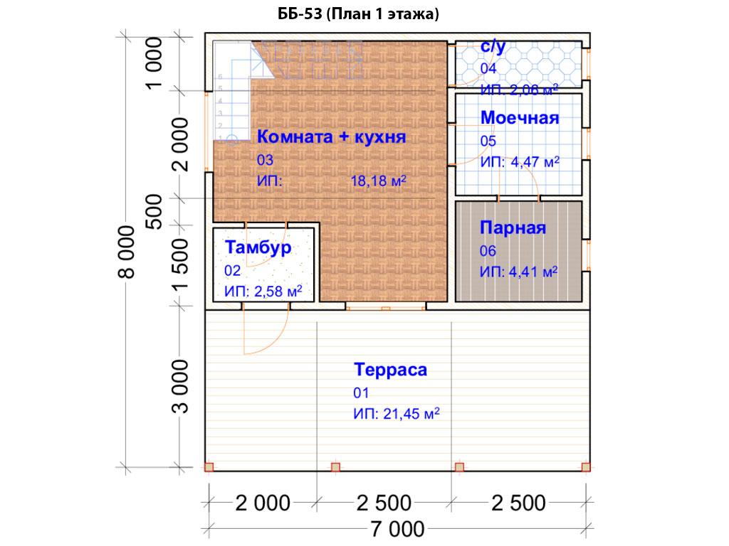 Проект бани 5х7м ББ-53 (План 1 этажа)
