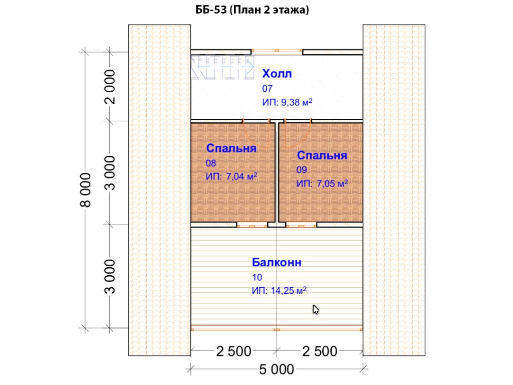 Проект бани 5х7м ББ-53 (План 2 этажа)