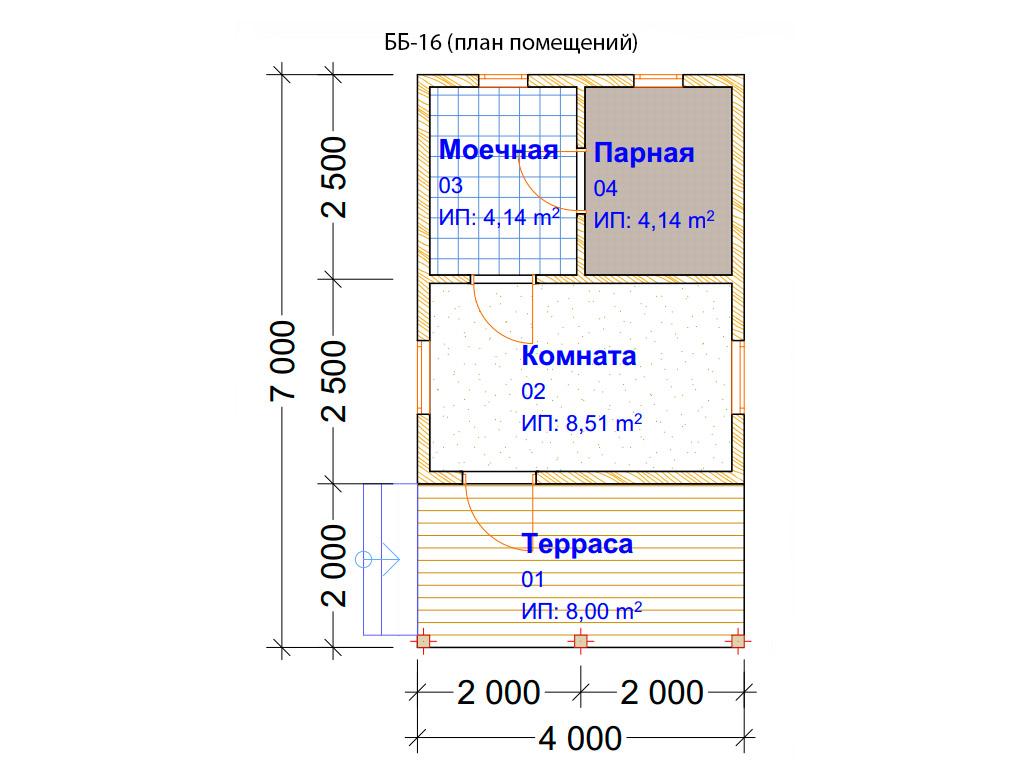 Проект бани 4х7м ББ-16 (план помещений)