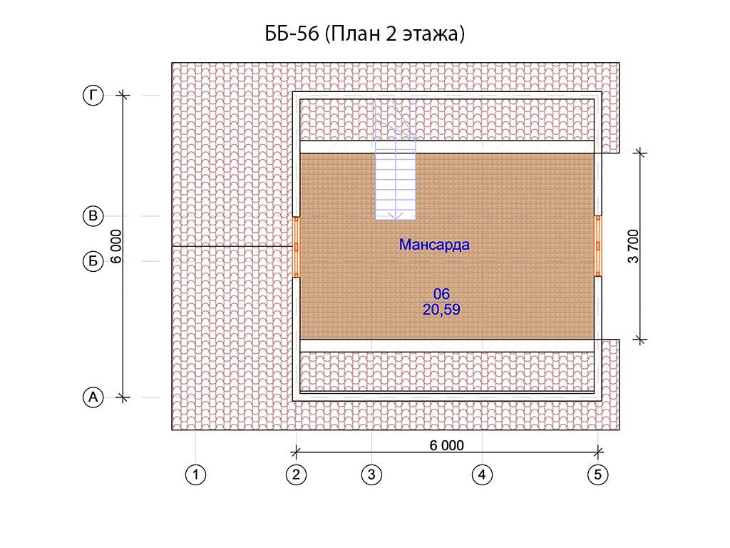 Проект бани 6х8м ББ-56 (план 2 этажа)