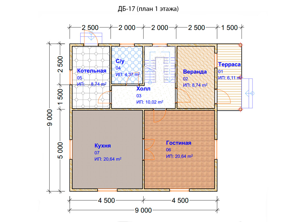 Проект дома 9х9м ДБ-17
