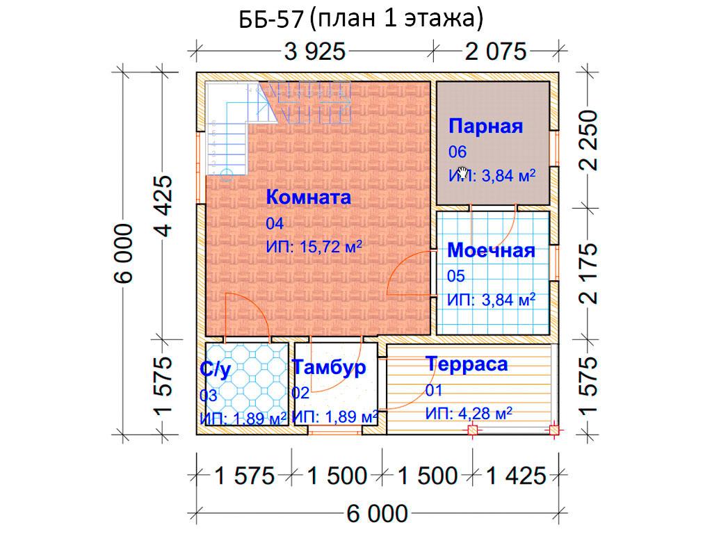 Проект бани 6х6м ББ-57 (план 1 этажа)