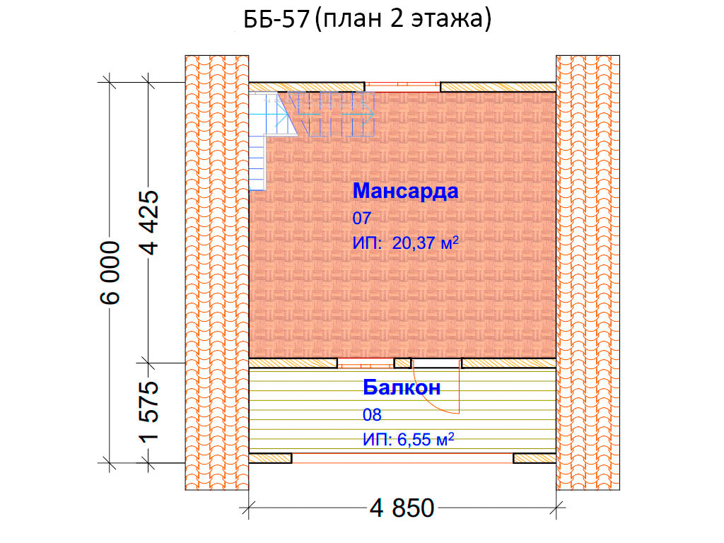 Проект бани 6х6м ББ-57 (план 2 этажа)