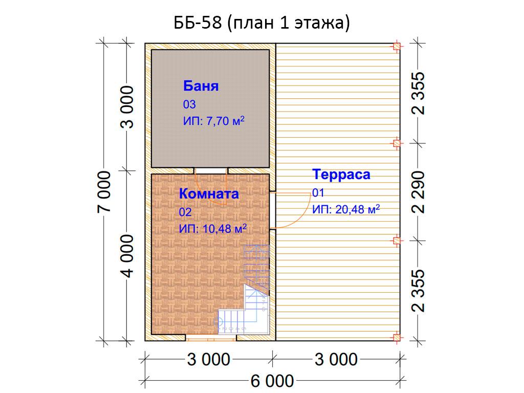 Проект бани 6х7м ББ-58 (план 1 этажа)