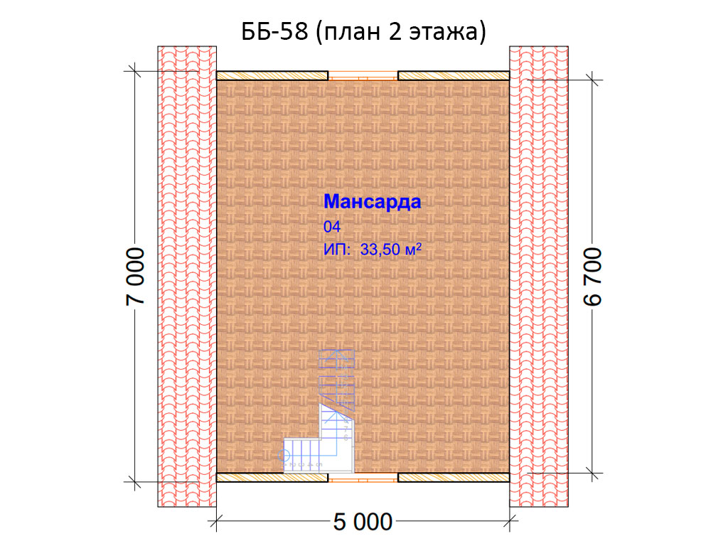 Проект бани 6х7м ББ-58 (план 2 этажа)