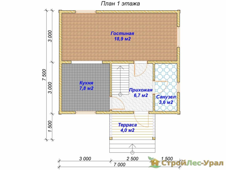 Проект дома 7х7.5м ДБ-67