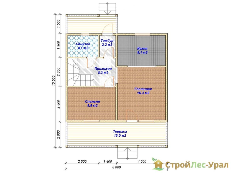 Проект дома 8х10.5м ДБ-75