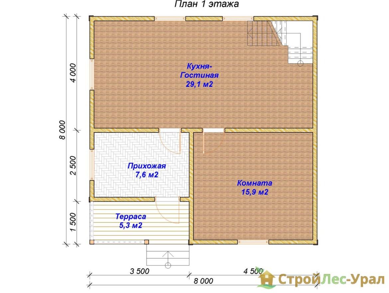 Проект дома 8х8м ДБ-76