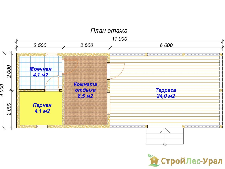 Проект бани 5х4м с террасой 6х4м - ББ-64