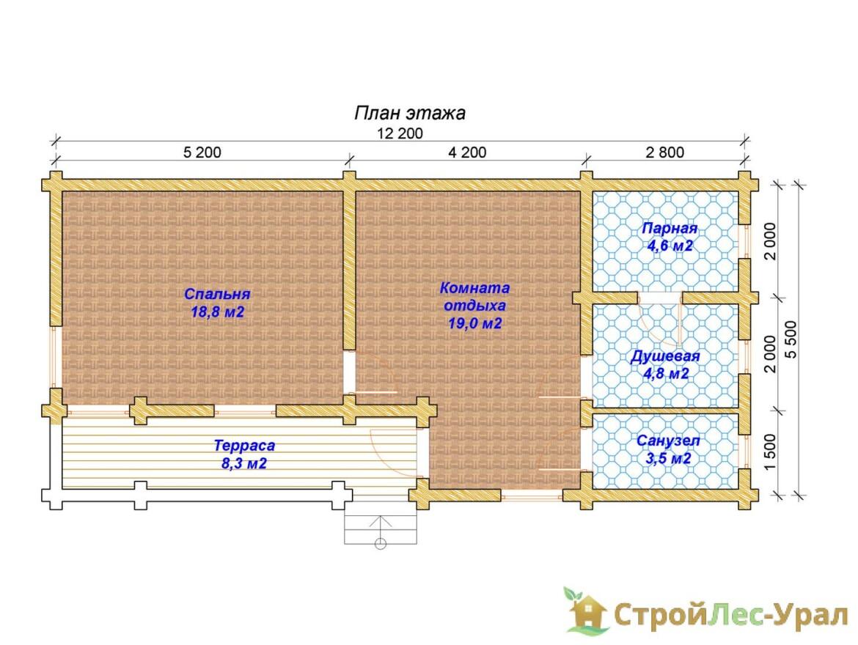 Проект бани 5.5х12.2м БО-21