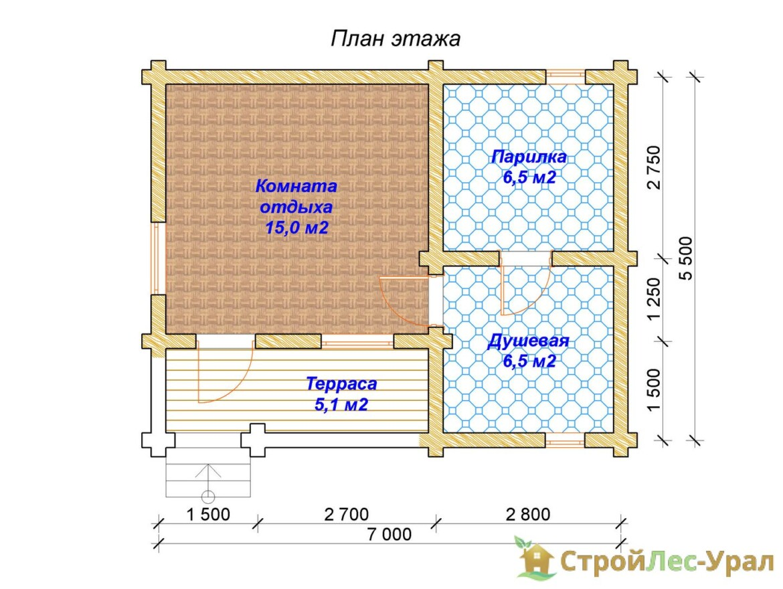 Проект бани 5.5х7м БО-22