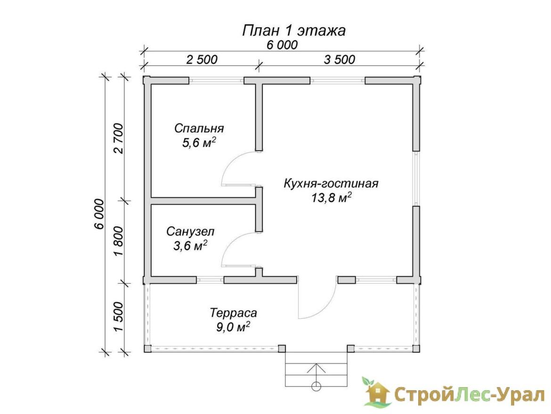 Проект дома 6х6м ДБ-80