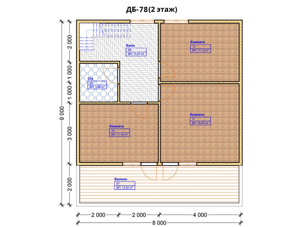 Проект дома 8х9м ДБ-78