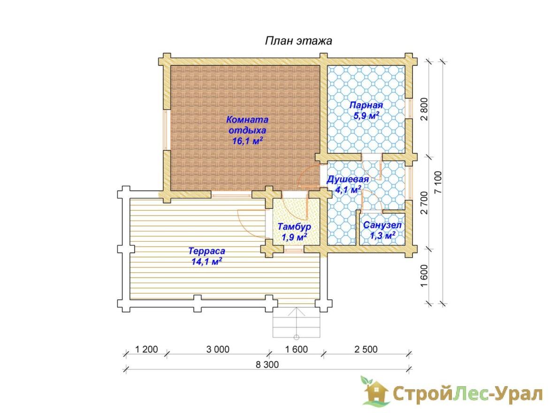 Проект бани 7х8м БО-23 (план помещений)