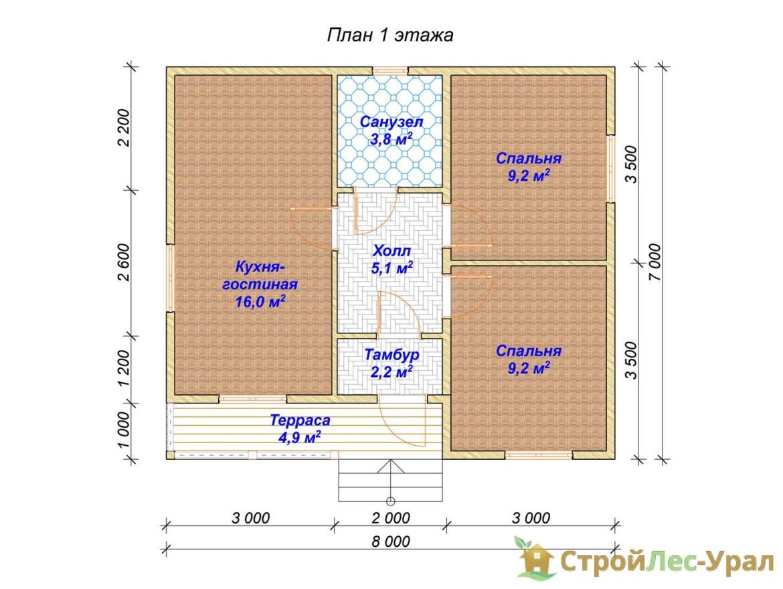 Проект дома 7х8м ДБ-83