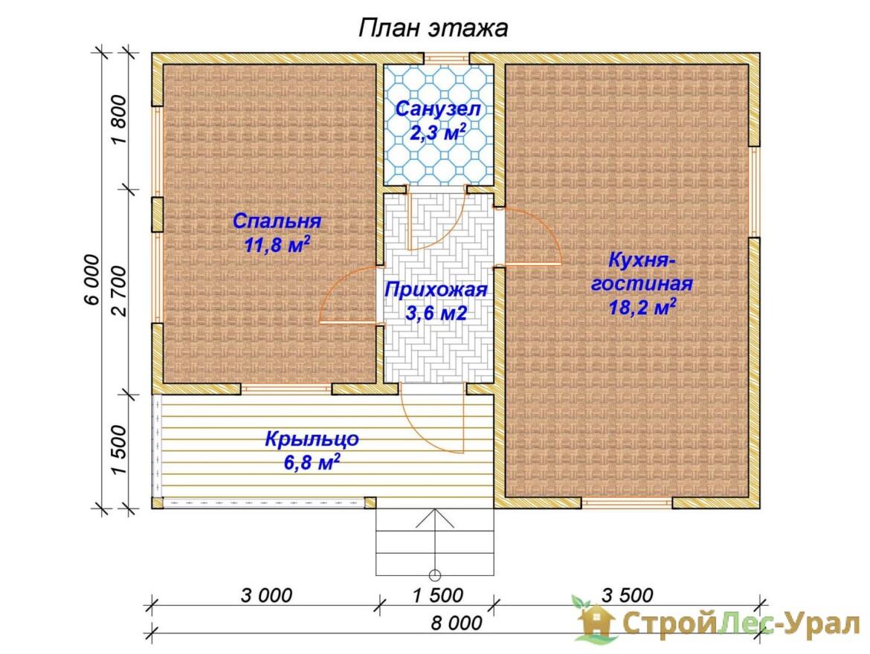 Проект дома 6х8м ДБ-84